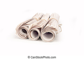 Newspapers rolled up