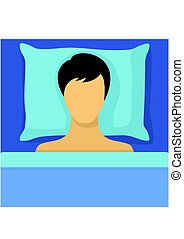 Man sleeping in bed. Sleeping man lying on a pillow and dreaming at night. Vector illustration