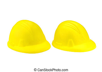hard hats - Two Isolated hard hats