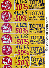 total sales in a store. feschäft is closed a