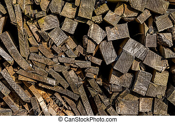 stack of firewood, a symbol of fuel, renewable resources,...