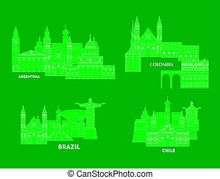 latin america set - Illustration in the style of a flat...