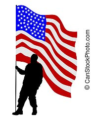 Uniform man one - Soldier in uniform with american flag