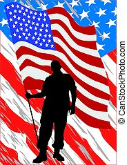 Uniform man six - Soldier in uniform with american flag