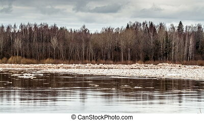 Spring flood ice drift - Timelapse of Spring flood ice drift...