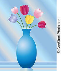 tulip vase - an illustration of a vase of tulips in various...