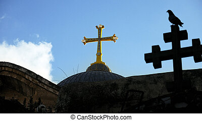 Cross on Temple of the Holy Sepulcher in Jerusalem