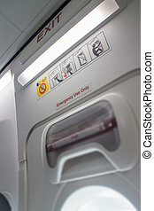 Airplane Cabin Emergency Safety Sign, stock photo