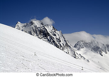 Ski slope.  Caucasus Mountains, Dombay.