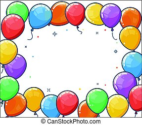 Colorful helium balloon frame. Flying latex balloons on...