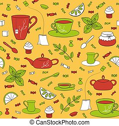 Tea party seamless pattern. Teapots, cups, spoons and...