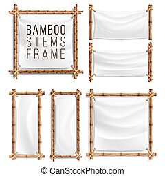 Bamboo Frame Set Vector With Canvas. Wooden Frame Of Bamboo...