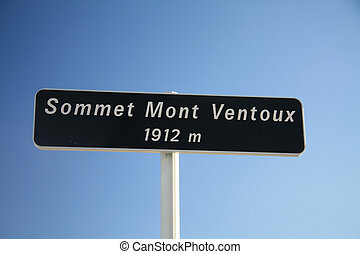 On top of the mont Ventoux, France - Sign on top of the Mont...