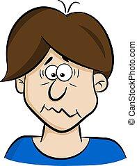 portrait of a afraid cartoon man