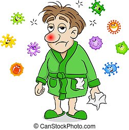 cartoon man who is sick and surrounded by viruses - vector...
