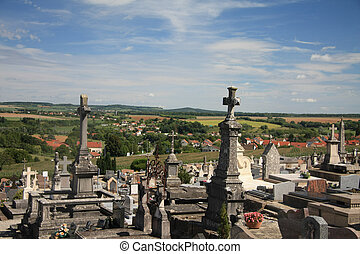 Cemetery in Langres, France - Overview of an old cemetery in...