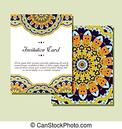Retro card with mandala. Vintage background with place for text. Graphic template for your design. decorative ornament
