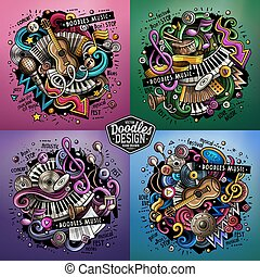 Music cartoon vector doodle illustration. Colorful detailed...