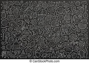Vector doodle cartoon set of Indian objects - Chalk board...