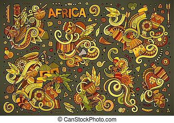 Vector doodle cartoon set of Africa designs - Colorful...