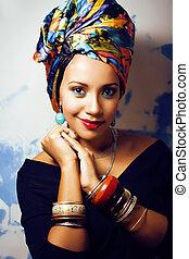 Arriba, mujer, belleza, marca, cabeza, creativo, brillante,...