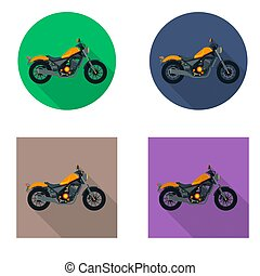 Vector motorcycles icon set in flat style. Vector...