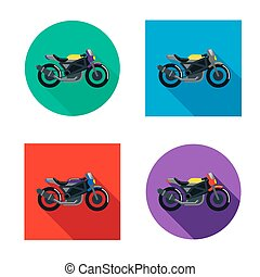 Vector motorcycles set in flat style. Vector illustrations...