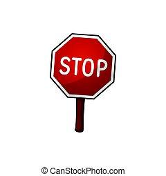 Road sign stop, vector illustration, cartoon illustration