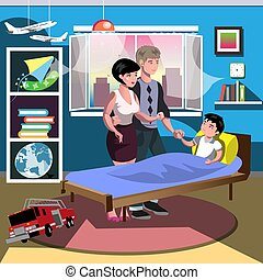 Boy on bed with parent in room