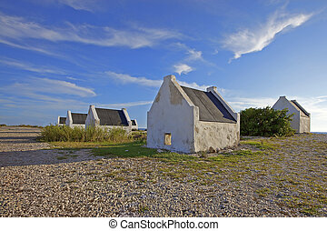 Slave huts - Historical white slave huts on Bonaire,...