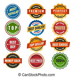 Colorful round labels and stickers