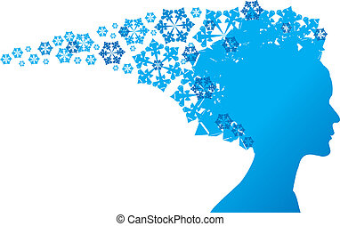 Snow Queen - blue silhouette on white background