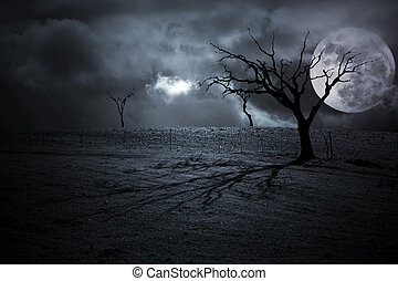 Halloween Landscape - Halloween dark scenery with naked...
