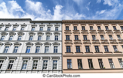 tow old houses and blue sky in Berlin Kreuzberg