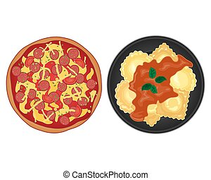 italian food - a vector illustration in eps 10 format of two...