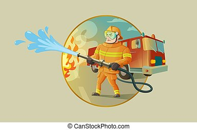 A fireman is putting out a fire