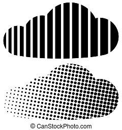 CLOUD HALF TONE, stripes and points concept digital cloud -...