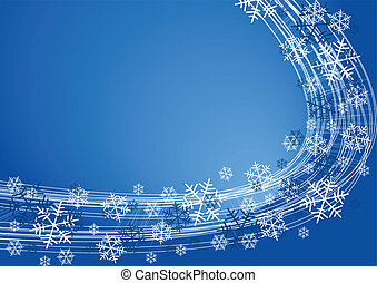 Snow flakes background - white snowflakes on blue color