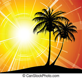 Sunset on the beach - palm trees silhouettes