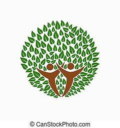 Green tree people symbol for community team help