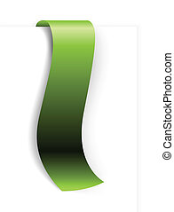 Fresh green ribbon - bookmark on a white background