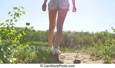 Girl running around in the nature lifestyle on the sand....