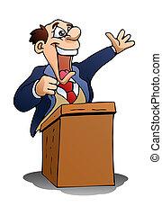 speech on isolated white - illustration of a senior speech...