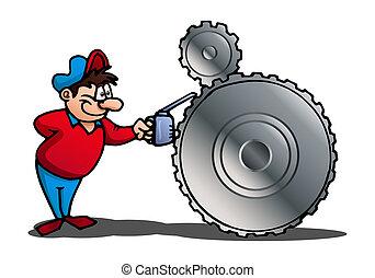 mechanic on isolated white - illustration of a mechanic...
