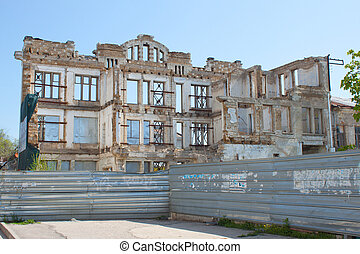 Ruins of the large old house. - Large ruined house in the...