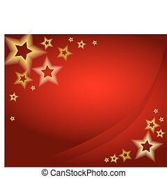 Red christmas background / card with golden stars