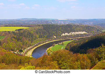 Elbe river from konigstein fortress, Saxony (Germany)