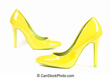 yellow lacquered shoes