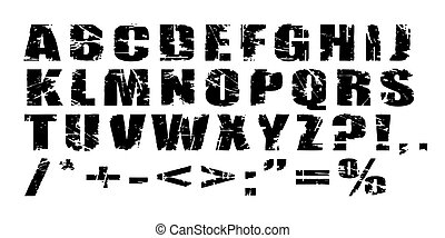 Vector Grunge Alphabet - Black letters on white background -...