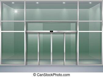 Facade with sliding doors - The facade of a modern shopping...